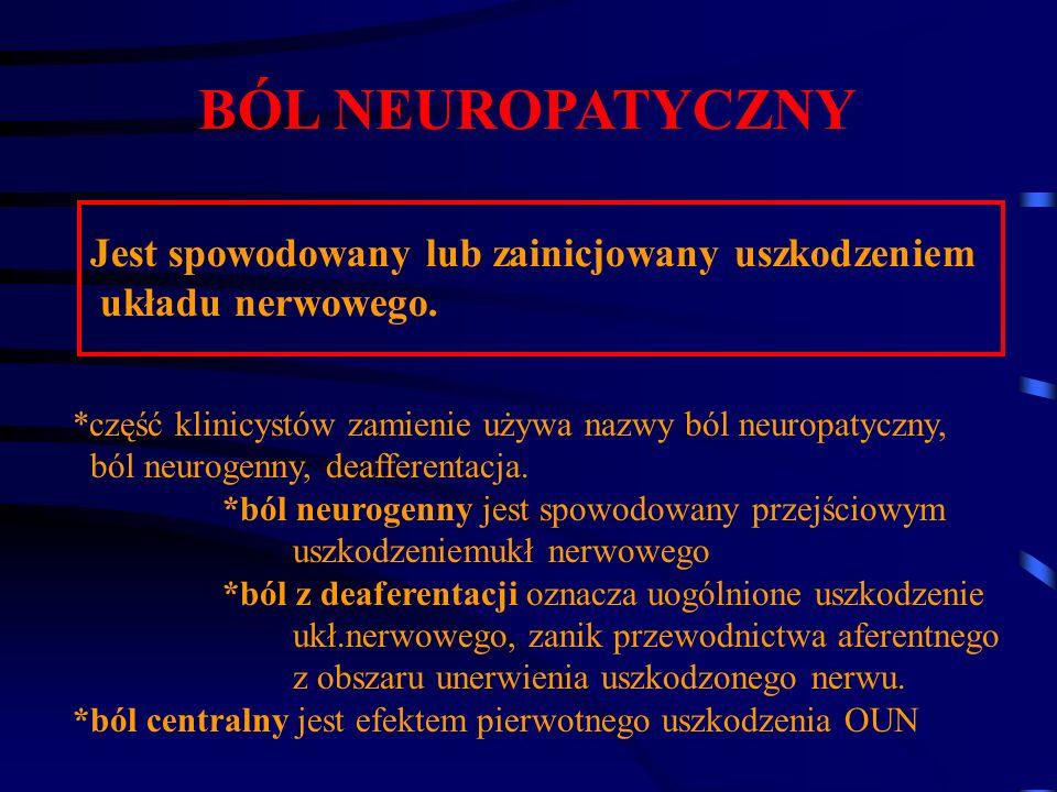 BÓL NEUROPATYCZNY Jest spowodowany lub zainicjowany uszkodzeniem układu nerwowego. *część klinicystów zamienie używa nazwy ból neuropatyczny, ból neur