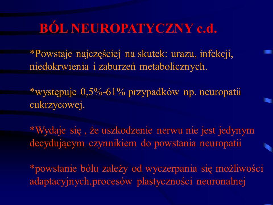 BÓL NEUROPATYCZNY c.d. *Powstaje najczęściej na skutek: urazu, infekcji, niedokrwienia i zaburzeń metabolicznych. *występuje 0,5%-61% przypadków np. n