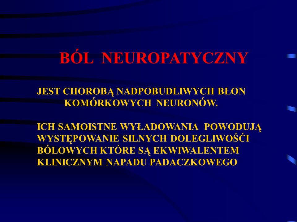 BÓL NEUROPATYCZNY JEST CHOROBĄ NADPOBUDLIWYCH BŁON KOMÓRKOWYCH NEURONÓW. ICH SAMOISTNE WYŁADOWANIA POWODUJĄ WYSTĘPOWANIE SILNYCH DOLEGLIWOŚĆI BÓLOWYCH