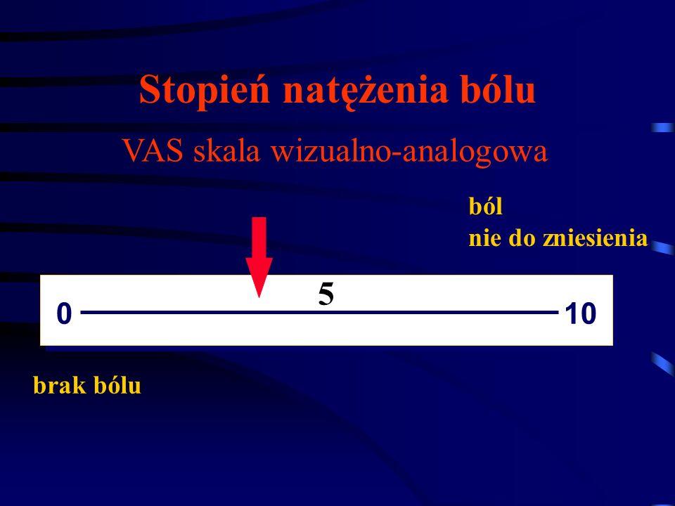 Stopień natężenia bólu brak bólu 0 10 ból nie do zniesienia VAS skala wizualno-analogowa 5