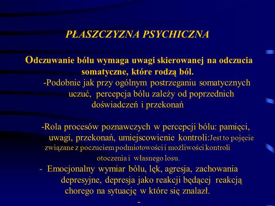 PŁASZCZYZNA PSYCHICZNA O dczuwanie bólu wymaga uwagi skierowanej na odczucia somatyczne, które rodzą ból. -Podobnie jak przy ogólnym postrzeganiu soma