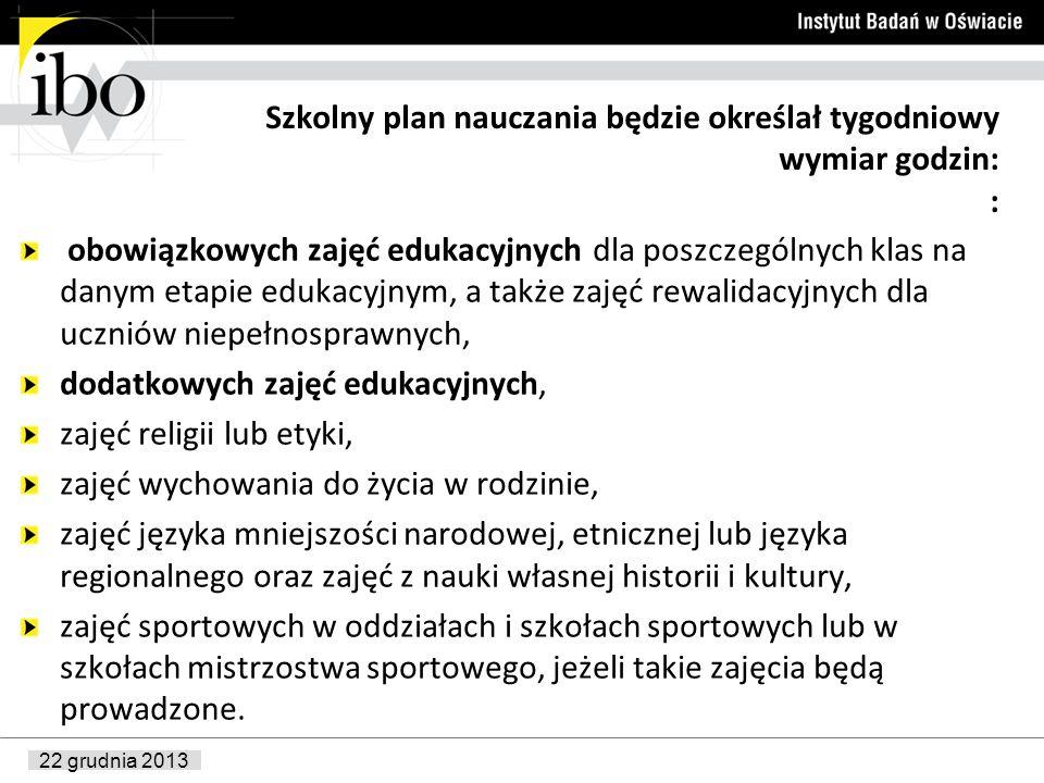 22 grudnia 2013 Szkolny plan nauczania będzie określał tygodniowy wymiar godzin: : obowiązkowych zajęć edukacyjnych dla poszczególnych klas na danym e