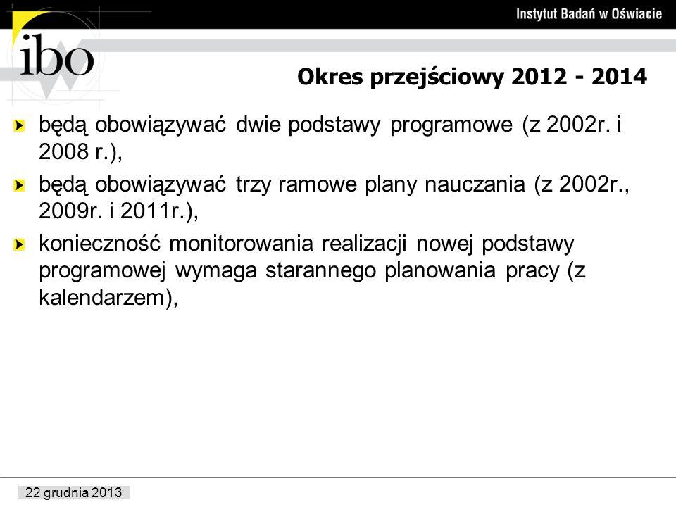 22 grudnia 2013 Okres przejściowy 2012 - 2014 będą obowiązywać dwie podstawy programowe (z 2002r. i 2008 r.), będą obowiązywać trzy ramowe plany naucz