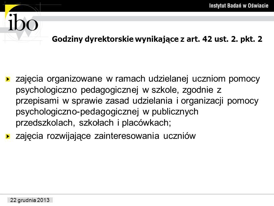 22 grudnia 2013 Godziny dyrektorskie wynikające z art. 42 ust. 2. pkt. 2 zajęcia organizowane w ramach udzielanej uczniom pomocy psychologiczno pedago