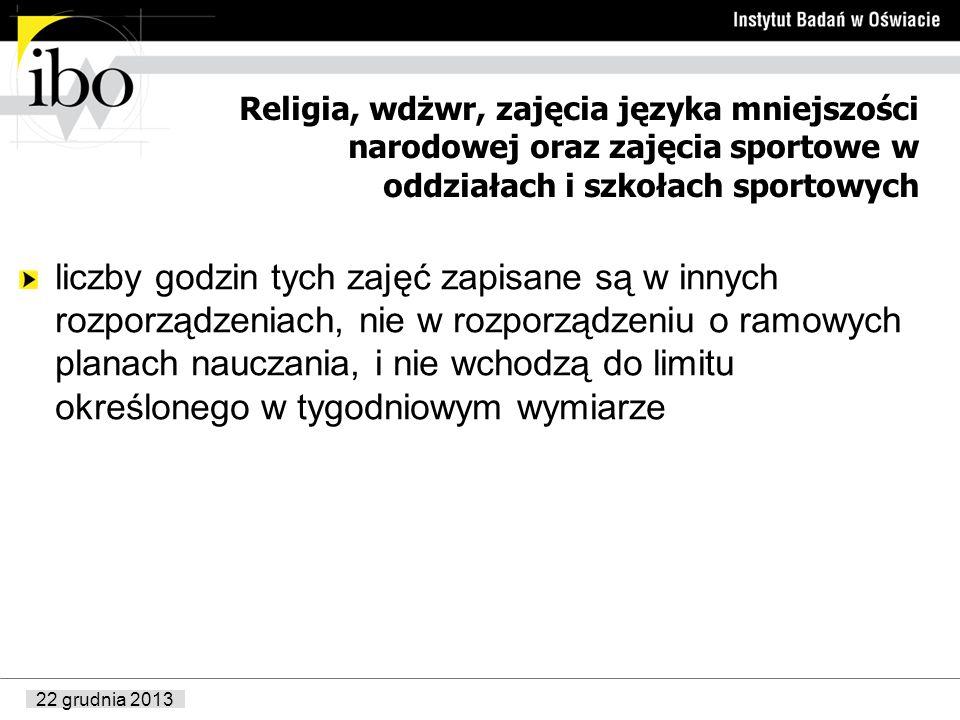 22 grudnia 2013 Religia, wdżwr, zajęcia języka mniejszości narodowej oraz zajęcia sportowe w oddziałach i szkołach sportowych liczby godzin tych zajęć