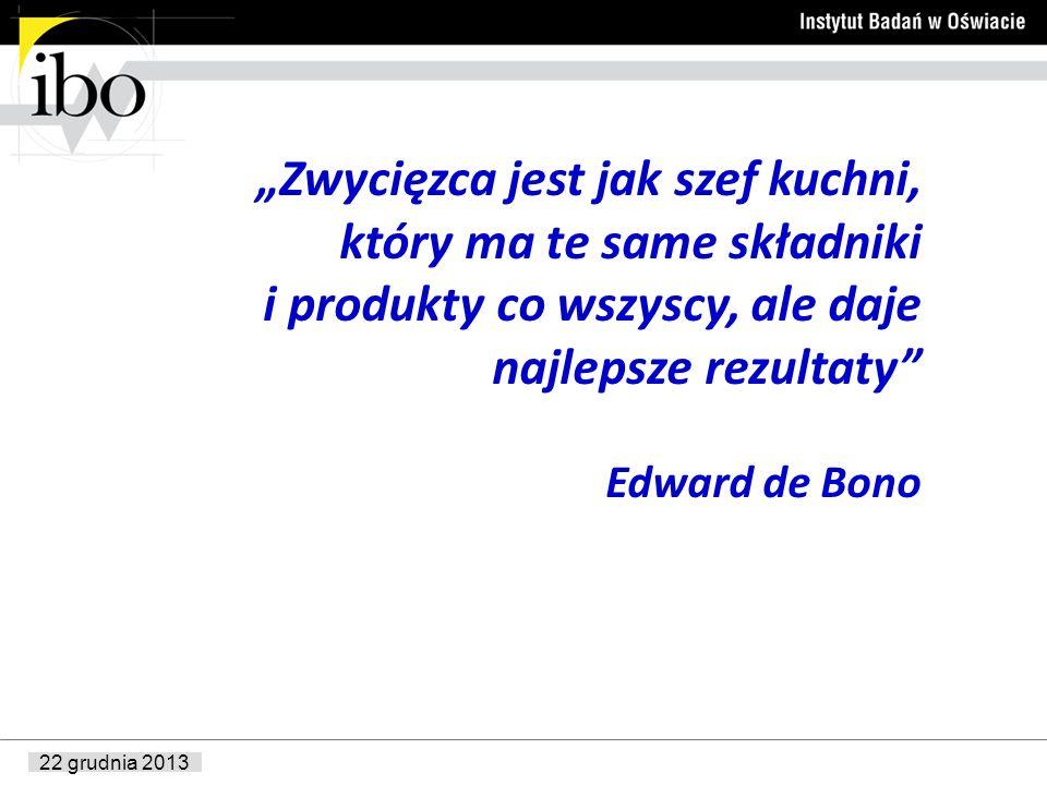 22 grudnia 2013 Zwycięzca jest jak szef kuchni, który ma te same składniki i produkty co wszyscy, ale daje najlepsze rezultaty Edward de Bono