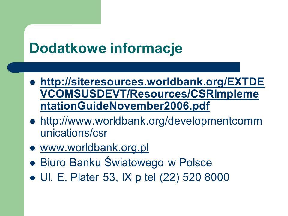 Dodatkowe informacje http://siteresources.worldbank.org/EXTDE VCOMSUSDEVT/Resources/CSRImpleme ntationGuideNovember2006.pdf http://siteresources.world