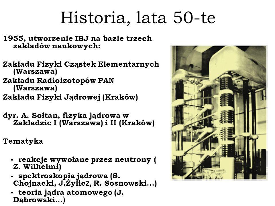 Historia, lata 50-te 1955, utworzenie IBJ na bazie trzech zakładów naukowych: Zakładu Fizyki Cząstek Elementarnych (Warszawa) Zakładu Radioizotopów PA