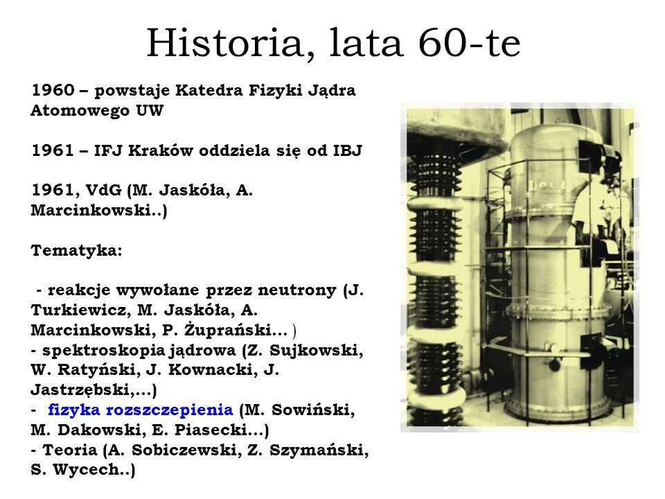 Historia, lata 60-te 1960 – powstaje Katedra Fizyki Jądra Atomowego UW 1961 – IFJ Kraków oddziela się od IBJ 1961, VdG (M. Jaskóła, A. Marcinkowski..)