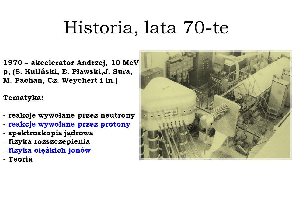 Historia, lata 70-te 1970 – akcelerator Andrzej, 10 MeV, p, (S. Kuliński, E. Pławski,J. Sura, M. Pachan, Cz. Weychert i in.) Tematyka: - reakcje wywoł
