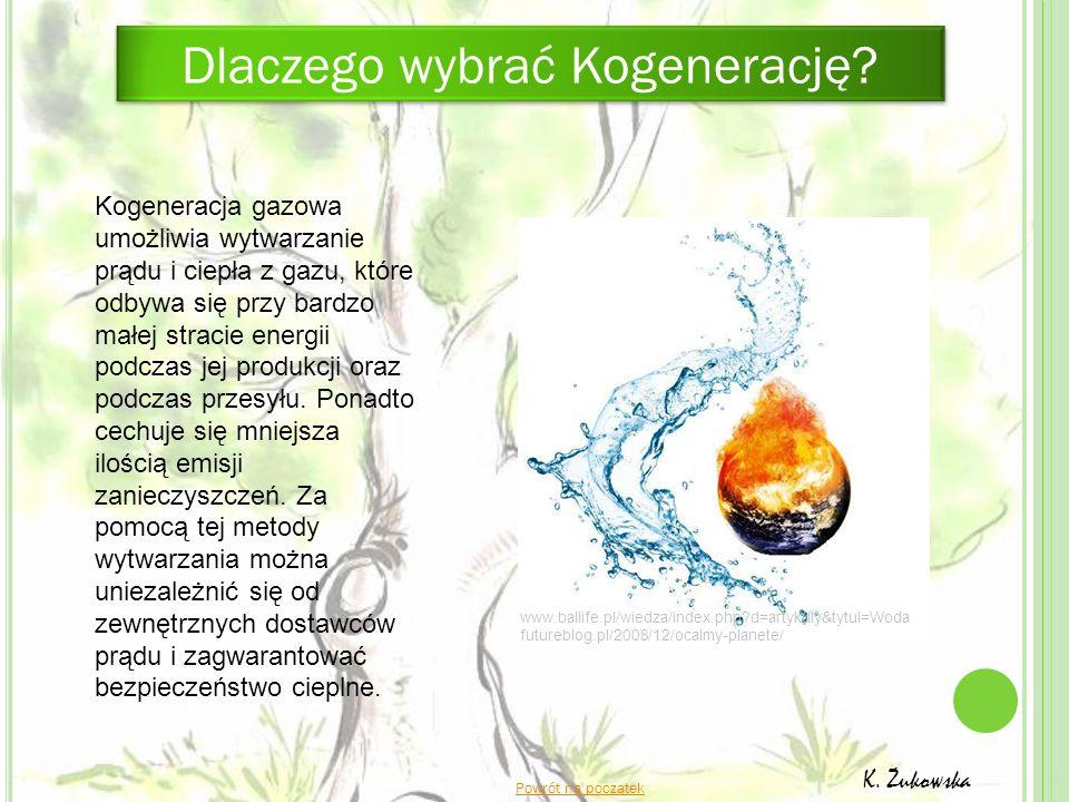 K. Żukowska Kogeneracja gazowa umożliwia wytwarzanie prądu i ciepła z gazu, które odbywa się przy bardzo małej stracie energii podczas jej produkcji o