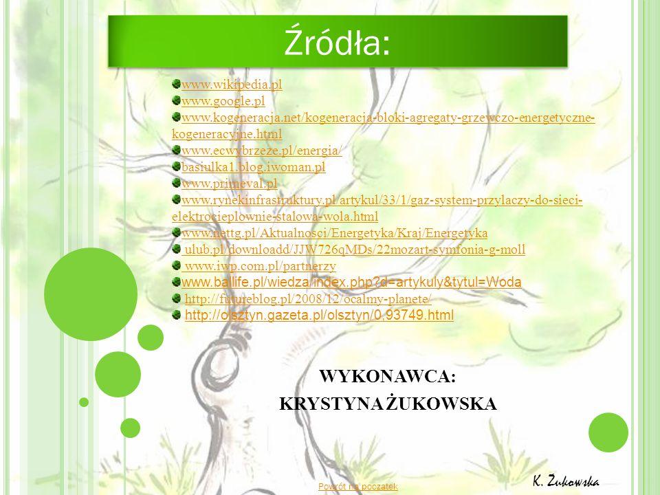 WYKONAWCA: KRYSTYNA ŻUKOWSKA Powrót na początek K. Żukowska www.wikipedia.pl www.google.pl www.kogeneracja.net/kogeneracja-bloki-agregaty-grzewczo-ene
