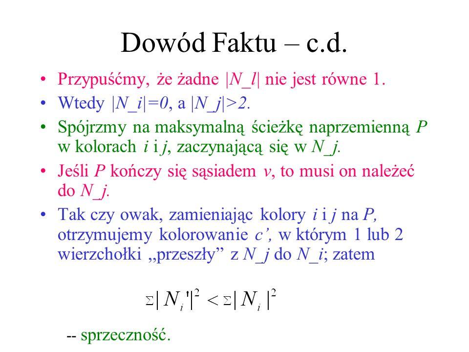 Dowód Faktu FAKT: Istnieje c takie, że |N_l|=1 dla pewnego l. Dowód: Wybierzmy c tak, by zminimalizować Zauważmy, że Stąd, istnieją i i j: |N_i|<2, |N