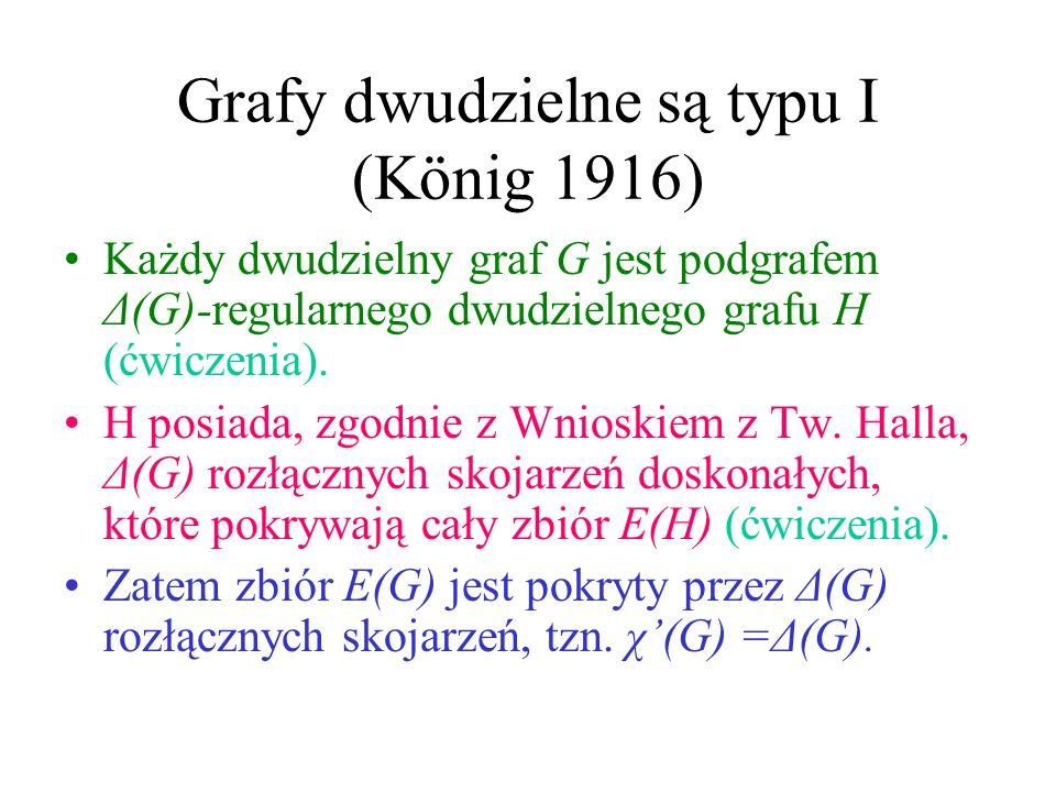 Dwa typy grafów Typ I : χ(G) =Δ(G): np. P_n, C_{2n}, K_{2n} Typ I I: χ(G) =Δ(G)+1: np. C_{2n+1}, K_{2n+1} Grafy dwudzielne? Graf Petersena ??? II
