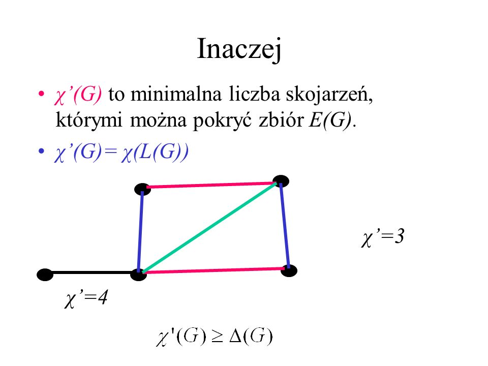 Indeks chromatyczny Zbiór niezależny skojarzenie Liczba chromatyczna χ indeks chromatyczny χ Indeks chromatyczny to najmniejsza liczba kolorów, którym