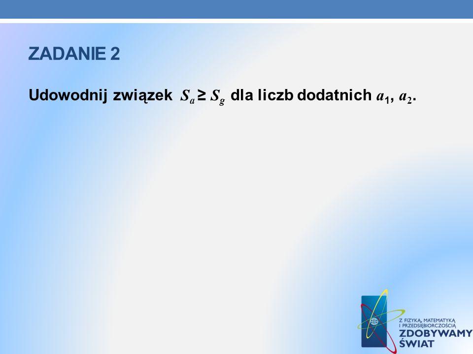 ZADANIE 2 Udowodnij związek S a S g dla liczb dodatnich a 1, a 2.