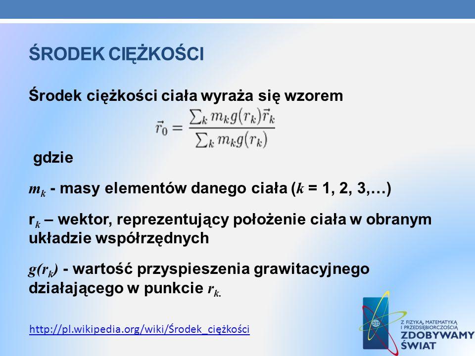 ŚRODEK CIĘŻKOŚCI Środek ciężkości ciała wyraża się wzorem gdzie m k - masy elementów danego ciała ( k = 1, 2, 3,…) r k – wektor, reprezentujący położe