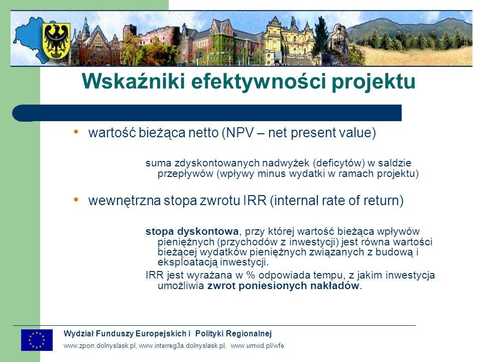 www.zporr.dolnyslask.pl, www.interreg3a.dolnyslask.pl, www.umwd.pl/wfe Wydział Funduszy Europejskich i Polityki Regionalnej Analiza efektywności kosztowej Analiza dokonywana w przypadku gdy spodziewane korzyści społeczne nie równoważą kosztów projektu (w stosunku do przedsięwzięć co do których wspierania finansowego zobowiązała się Unia Europejska – głównie z zakresu ochrony środowiska) CEL - wybór takiej realizacji inwestycji, która gwarantuje uzyskanie określonego efektu po możliwie najniższych kosztach