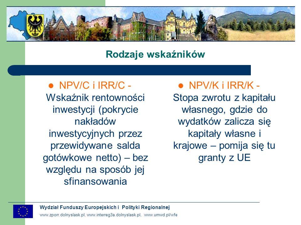 www.zporr.dolnyslask.pl, www.interreg3a.dolnyslask.pl, www.umwd.pl/wfe Wydział Funduszy Europejskich i Polityki Regionalnej Interpretacja wskaźników efektywności projektu NPV>0 – inwestycja przynosi zyski i jej realizacja jest pożądana Wszystkie inwestycje, które dają dodatnie NPV przy stopie dyskontowej odpowiadającej stosowanej stopie zwrotu, można uznać za korzystne.