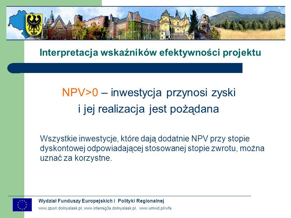 www.zporr.dolnyslask.pl, www.interreg3a.dolnyslask.pl, www.umwd.pl/wfe Wydział Funduszy Europejskich i Polityki Regionalnej Interpretacja wskaźników efektywności projektu NPV/C = NPV/K i IRR/C = IRR/K gdy Inwestor nie korzysta z zewnętrznych źródeł finansowania : dotacji, pożyczek i kredytów NPV/K > NPV/C i IRR/K > IRR/C gdy Inwestor korzysta z dotacji bezzwrotnej gdy Inwestor korzysta z kredytu lub pożyczki pod warunkiem, że stopa oprocentowania jest niższa niż IRR dla inwestycji