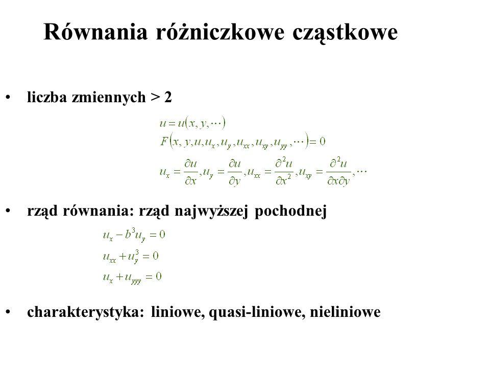 Równania różniczkowe cząstkowe liczba zmiennych > 2 rząd równania: rząd najwyższej pochodnej charakterystyka: liniowe, quasi-liniowe, nieliniowe