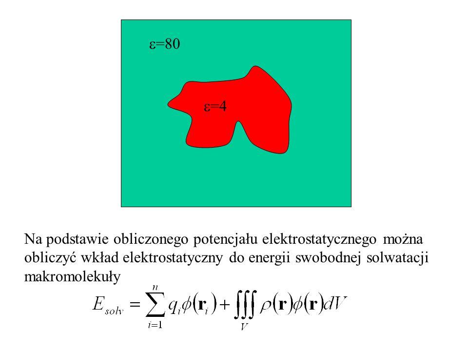 =80 =4 Na podstawie obliczonego potencjału elektrostatycznego można obliczyć wkład elektrostatyczny do energii swobodnej solwatacji makromolekuły