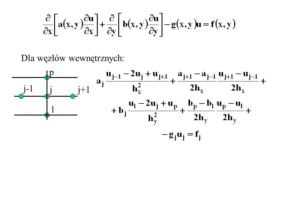 Dla węzłów wewnętrznych: jj+1 j-1 l p