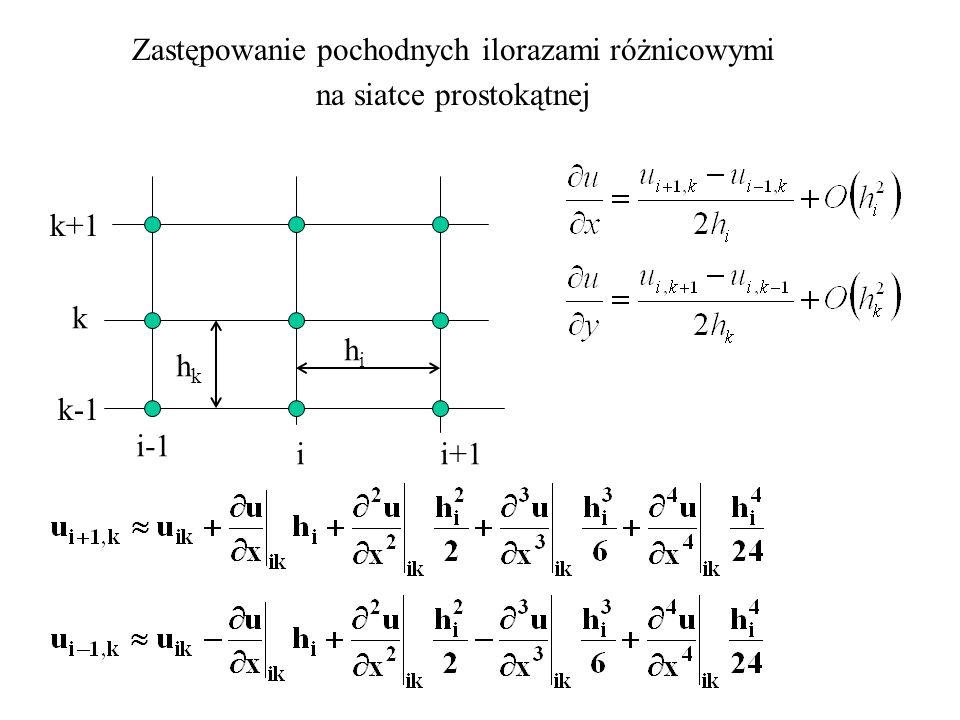 Zastępowanie pochodnych ilorazami różnicowymi na siatce prostokątnej i-1 i i+1 k-1 k k+1 hihi hkhk