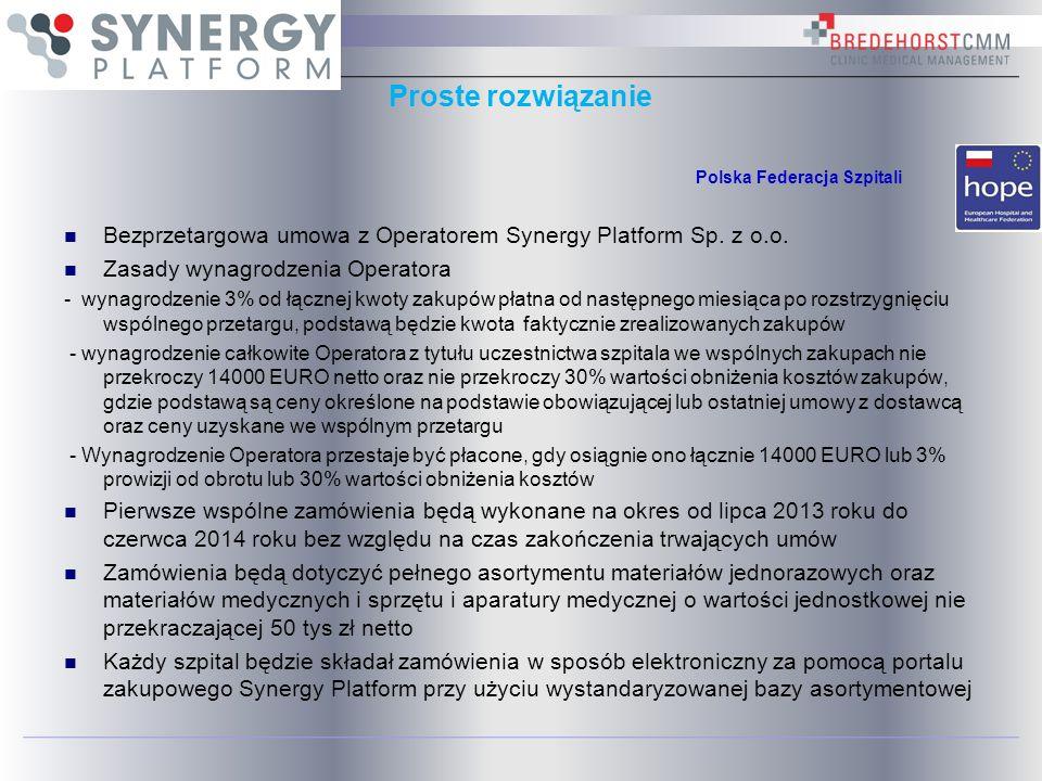 Proste rozwiązanie Bezprzetargowa umowa z Operatorem Synergy Platform Sp. z o.o. Zasady wynagrodzenia Operatora - wynagrodzenie 3% od łącznej kwoty za