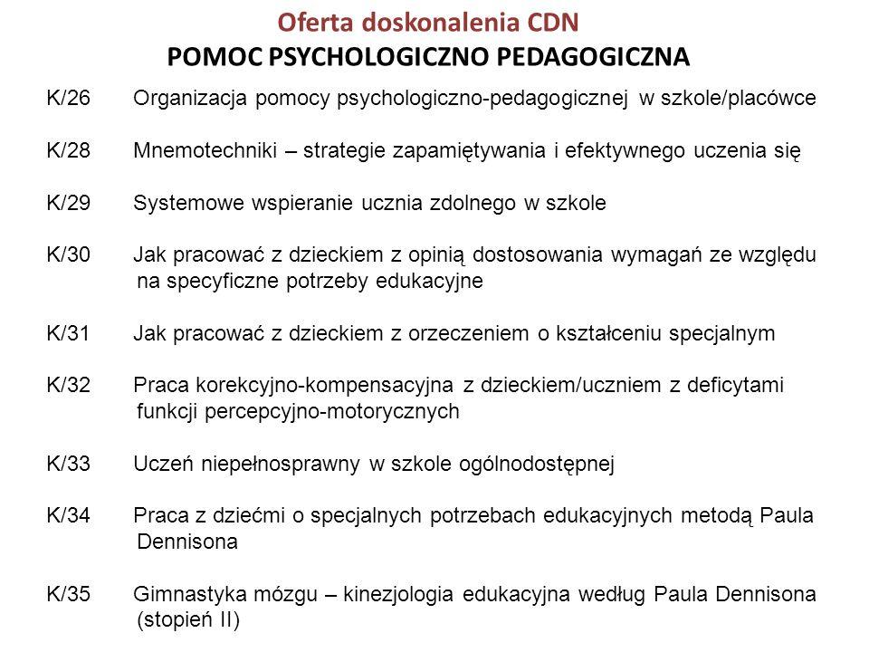 Oferta doskonalenia CDN POMOC PSYCHOLOGICZNO PEDAGOGICZNA K/26 Organizacja pomocy psychologiczno-pedagogicznej w szkole/placówce K/28 Mnemotechniki –