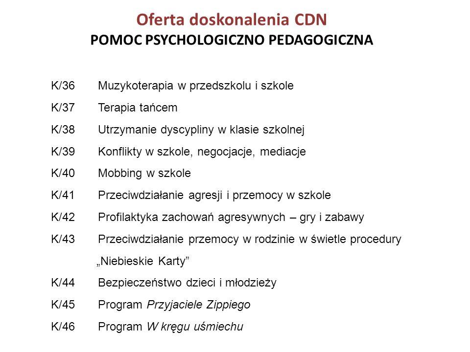 Oferta doskonalenia CDN POMOC PSYCHOLOGICZNO PEDAGOGICZNA K/36 Muzykoterapia w przedszkolu i szkole K/37 Terapia tańcem K/38 Utrzymanie dyscypliny w k