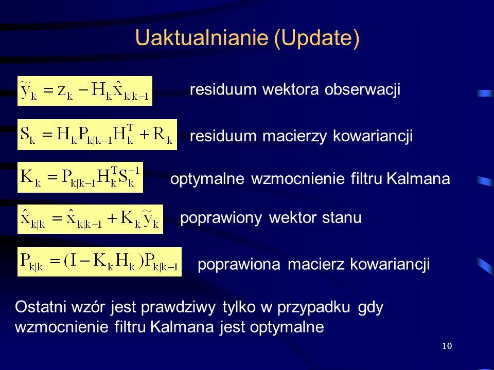 10 Uaktualnianie (Update) optymalne wzmocnienie filtru Kalmana poprawiony wektor stanu poprawiona macierz kowariancji residuum wektora obserwacji resi