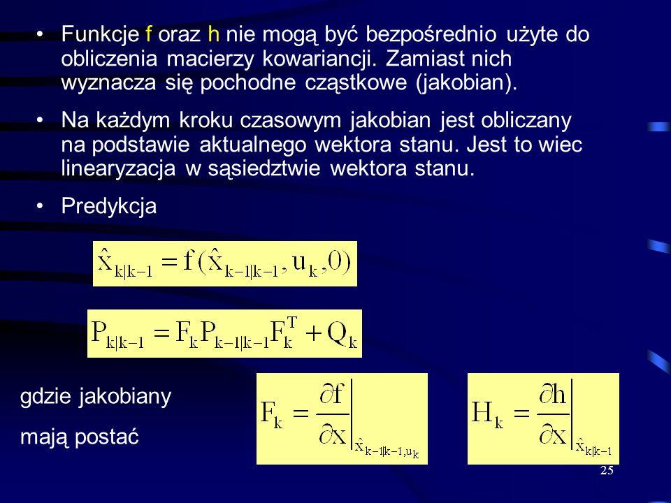 25 Funkcje f oraz h nie mogą być bezpośrednio użyte do obliczenia macierzy kowariancji. Zamiast nich wyznacza się pochodne cząstkowe (jakobian). Na ka
