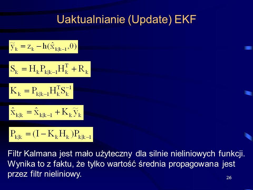 26 Uaktualnianie (Update) EKF Filtr Kalmana jest mało użyteczny dla silnie nieliniowych funkcji. Wynika to z faktu, że tylko wartość średnia propagowa