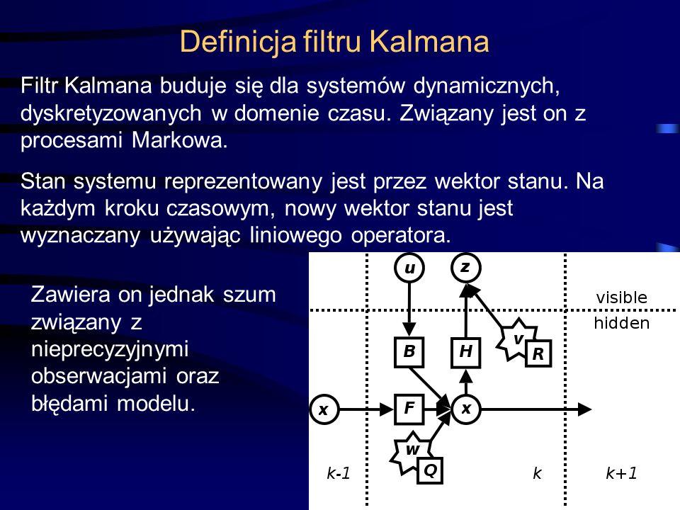 5 W modelu Kalmana zakładamy, że rzeczywisty stan układu dla czasu k jest wyznaczony na postawie wektora stanu dla chwili k-1 zgodnie ze wzorem: F k - jest modelem przejścia, który używany jest dla wektora stanu (k-1).