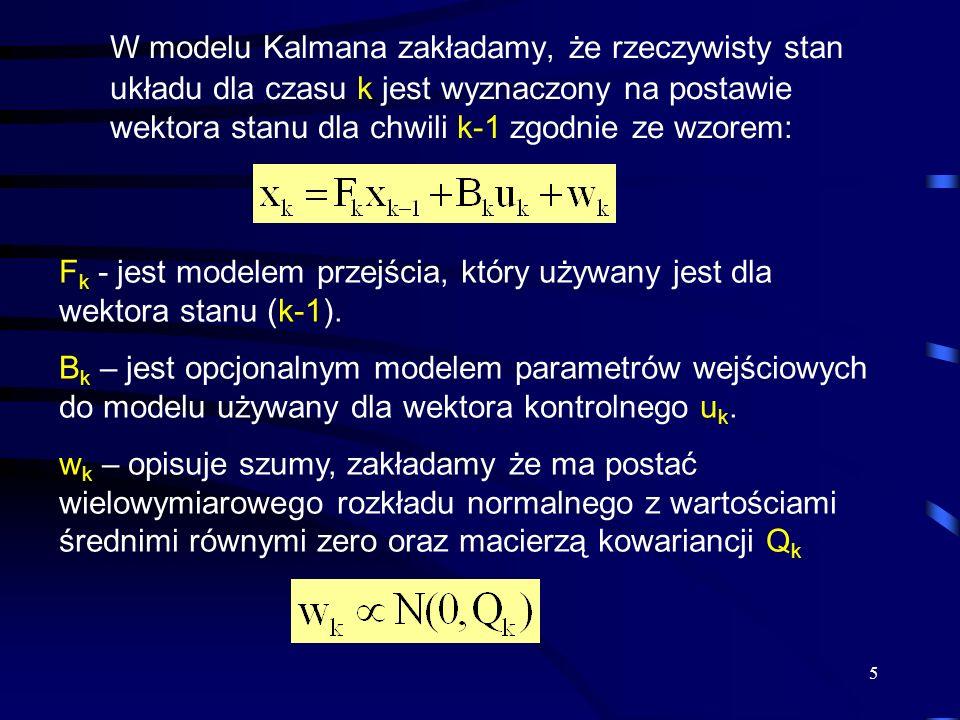 5 W modelu Kalmana zakładamy, że rzeczywisty stan układu dla czasu k jest wyznaczony na postawie wektora stanu dla chwili k-1 zgodnie ze wzorem: F k -