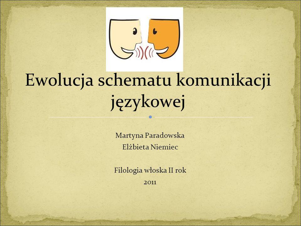 Ewolucja schematu komunikacji językowej Martyna Paradowska Elżbieta Niemiec Filologia włoska II rok 2011