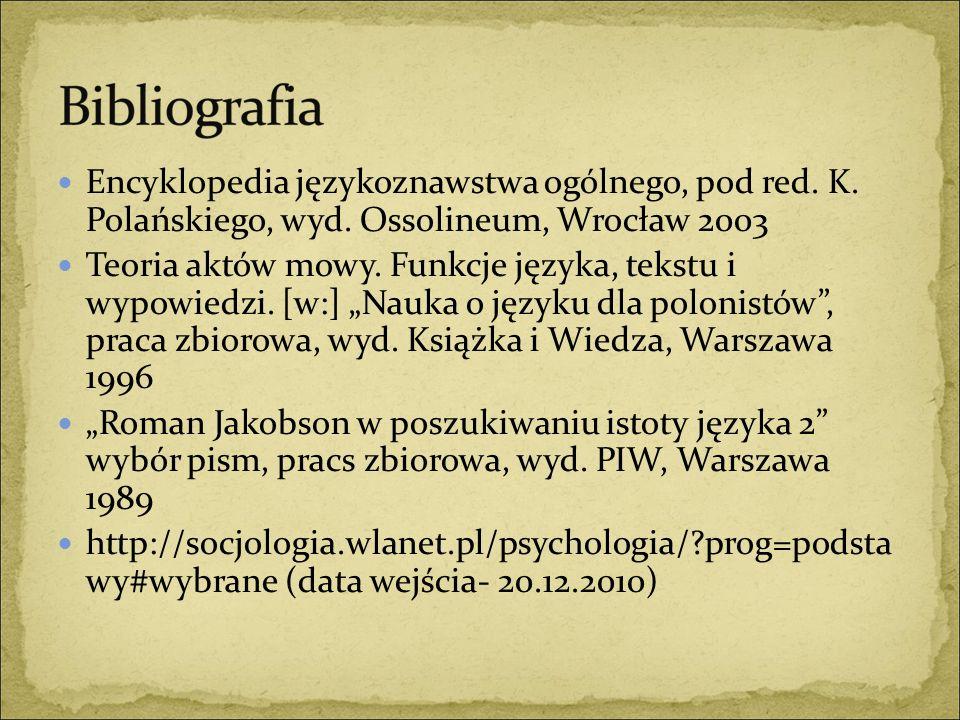Encyklopedia językoznawstwa ogólnego, pod red. K. Polańskiego, wyd. Ossolineum, Wrocław 2003 Teoria aktów mowy. Funkcje języka, tekstu i wypowiedzi. [