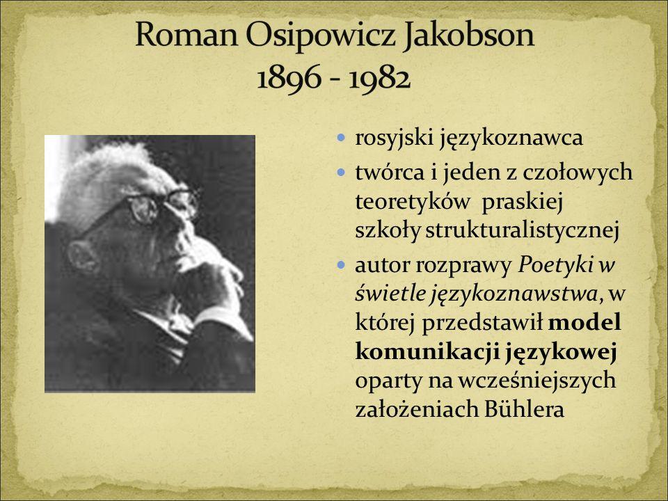 rosyjski językoznawca twórca i jeden z czołowych teoretyków praskiej szkoły strukturalistycznej autor rozprawy Poetyki w świetle językoznawstwa, w któ