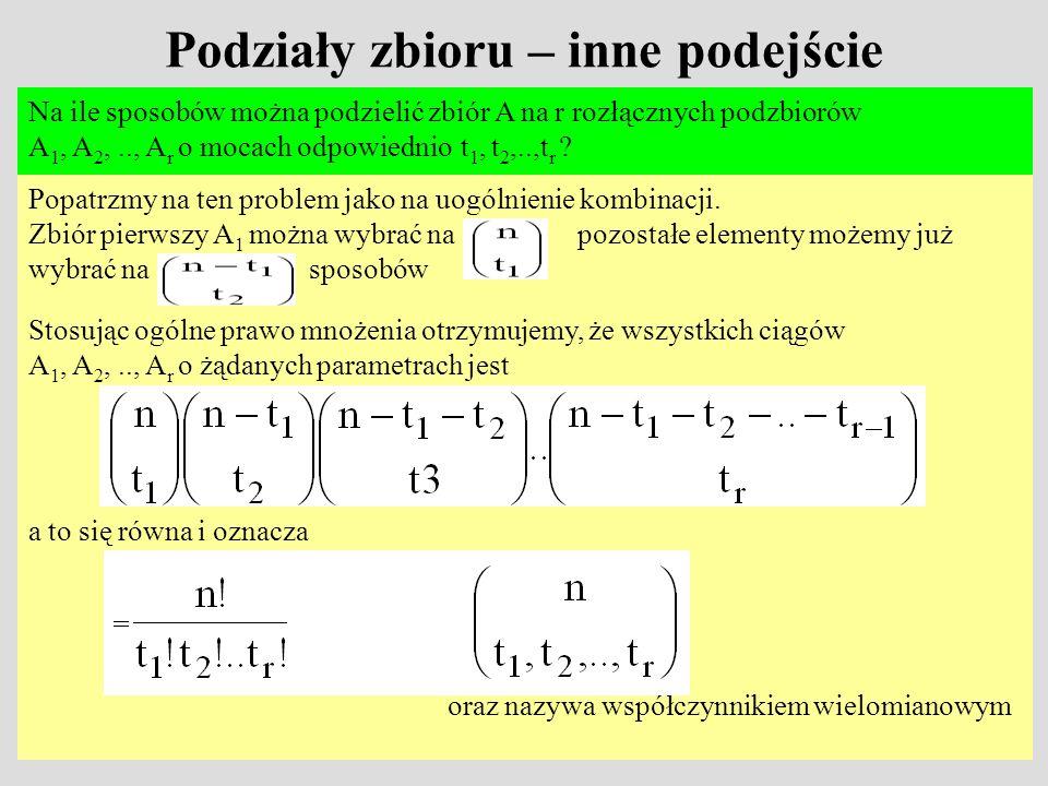 Podziały zbioru – inne podejście Na ile sposobów można podzielić zbiór A na r rozłącznych podzbiorów A 1, A 2,.., A r o mocach odpowiednio t 1, t 2,..