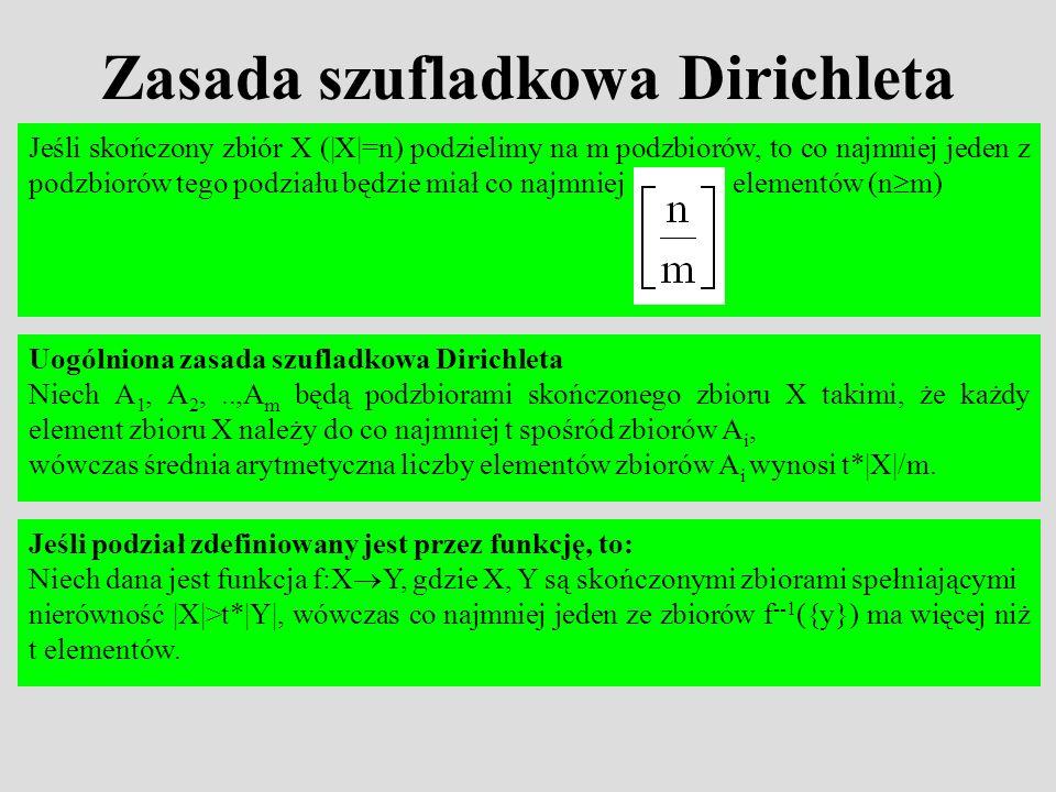 Zasada szufladkowa Dirichleta Uogólniona zasada szufladkowa Dirichleta Niech A 1, A 2,..,A m będą podzbiorami skończonego zbioru X takimi, że każdy el