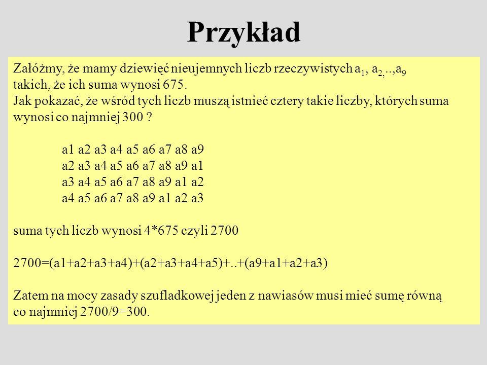 Przykład Załóżmy, że mamy dziewięć nieujemnych liczb rzeczywistych a 1, a 2,..,a 9 takich, że ich suma wynosi 675. Jak pokazać, że wśród tych liczb mu