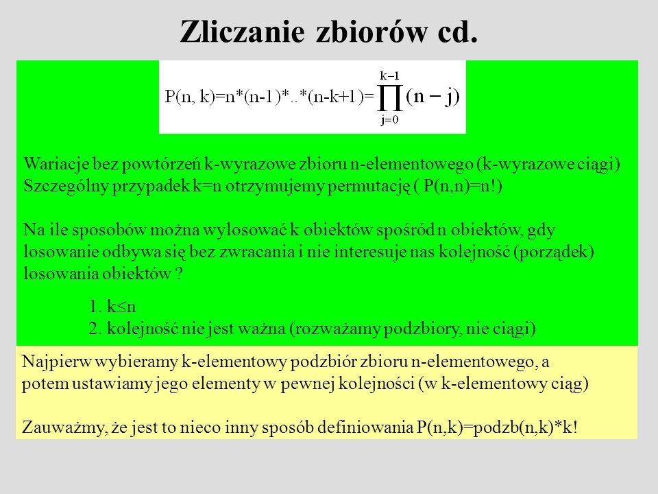 Zliczanie zbiorów cd. Wariacje bez powtórzeń k-wyrazowe zbioru n-elementowego (k-wyrazowe ciągi) Szczególny przypadek k=n otrzymujemy permutację ( P(n