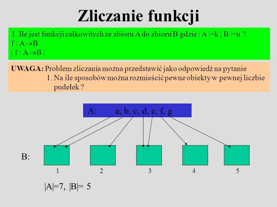 Zliczanie funkcji 1. Ile jest funkcji całkowitych ze zbioru A do zbioru B gdzie | A |=k | B |=n ? f : A B | f : A B | UWAGA: Problem zliczania można p