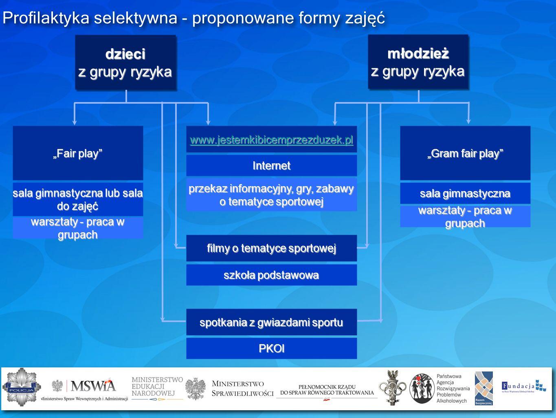 Profilaktyka selektywna - proponowane formy zajęć Gram fair play sala gimnastyczna warsztaty - praca w grupach www.jestemkibicemprzezduzek.pl Internet