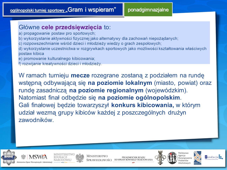 ogólnopolski turniej sportowy Gram i wspieram ponadgimnazjalne Główne cele przedsięwzięcia to: a) propagowanie postaw pro sportowych; b) wykorzystanie