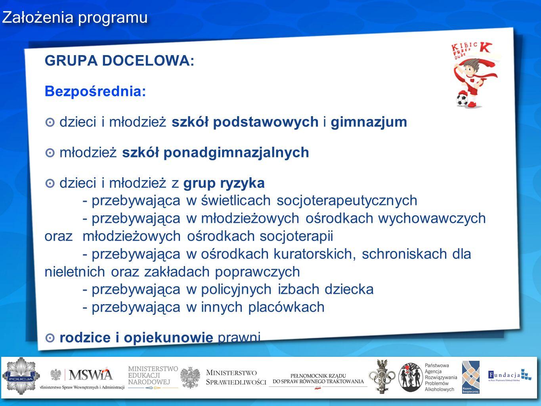 Założenia programu GRUPA DOCELOWA: Bezpośrednia: dzieci i młodzież szkół podstawowych i gimnazjum młodzież szkół ponadgimnazjalnych dzieci i młodzież