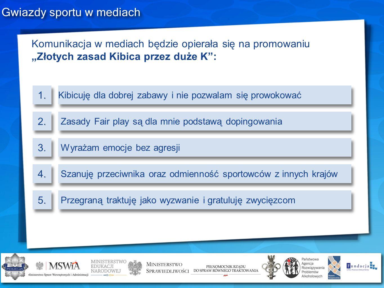 Gwiazdy sportu w mediach Komunikacja w mediach będzie opierała się na promowaniu Złotych zasad Kibica przez duże K:.1..1..2..2.3..4..4..5..5. Kibicuję