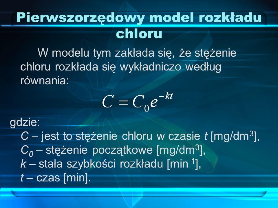 Drugorzędowy model rozkładu chloru Reakcje pomiędzy dezynfektantem a fikcyjnym reaktantem w modelu dwuskładnikowym: gdzie: A – składnik chloru, B – składnik fikcyjnego reaktanta, P – produkt uboczny dezynfektanta, a, b i p – współczynniki stechiometryczne.