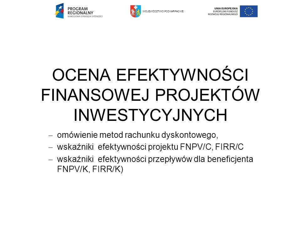 OCENA EFEKTYWNOŚCI FINANSOWEJ PROJEKTÓW INWESTYCYJNYCH omówienie metod rachunku dyskontowego, wskaźniki efektywności projektu FNPV/C, FIRR/C wskaźniki